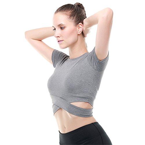 Fanceey Femmes Fitness et Musculation Exercice Yoga Chemise Sports Running Beauté Crop Top Sportswear
