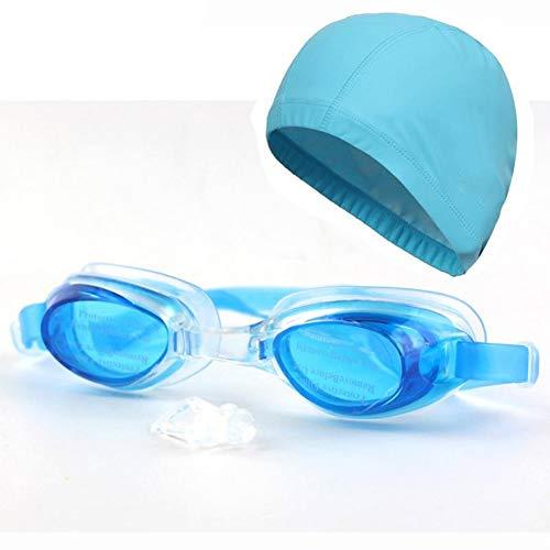 GPOKD Schwimmbrille Neue Erwachsene wasserdichte Schwimmen-Schwimmen-Schutzbrillen-Brillen-Gläser mit Fall u. Ohr-Haar-Schutz PU-Gewebe-Kappen-Hut für Mann-Frauen-Damen
