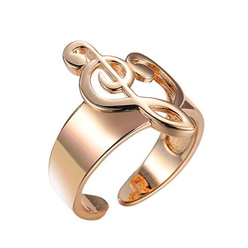 Fengteng Charm Damen Ringe Herz Noten Ring Gold Farbe Violinschlüssel Musik Herzform Fingerring Bass Notenschlüssel Schmuck Verstellbare Geschenk