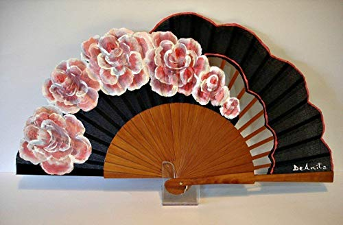 Abanico español pintado a mano'Rosas de Granville'