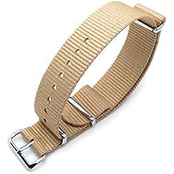 MiLTAT 20mm G10 NATO Watch Strap, Ballistic Nylon, PVD Sand, Color Sand