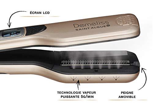 SAINT ALGUE Demeliss Titanium - Plaque de Titane Professionnelle Large, Technologie Vapeur, pour tous Types de Cheveux, Température de 150° à 230°, Réservoir d'Eau de 40 ml - Doré/Noir