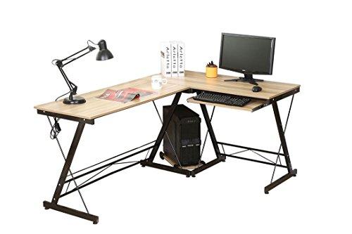 HLC L-Form 161*120*73CM Eckschreibtisch Schreibtisch Computertisch Bürotisch mit Tastaturauszug aus Holz Gelb
