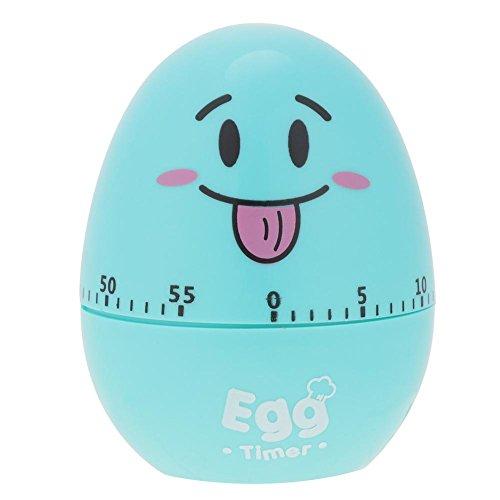 Fdit girante a forma di uovo meccanico allarme manuale vento fino alla rovescia con timer 55minuti per cucinare cucina strumento gadget Blue