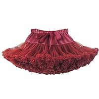 Gagacity Tutu Skirt Little Girls Woman Princess Tulle Petticoat Costume for Birthday Dance Carnival Party Cosplay Costume Burgundy