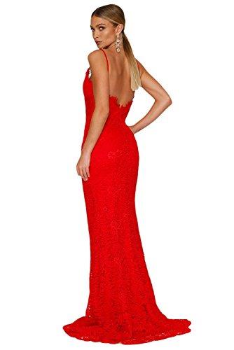 COSIVIA Damen Elegante Maxi Kleid Yum Lacy Spitze Braut Hochzeitskleid Abendkleid Partykleid Rot