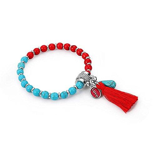 AdornHome Armbänder,Armband,Schmuck,Kreatives vulkanisches Steinglas Bördelte Quasten-Hängendes Armband-Armband