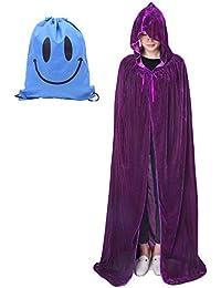 Myir Cape à Capuche Adulte Unisexe Cosplay Costume Halloween Party Déguisement Wicca Vampire Cape Longue