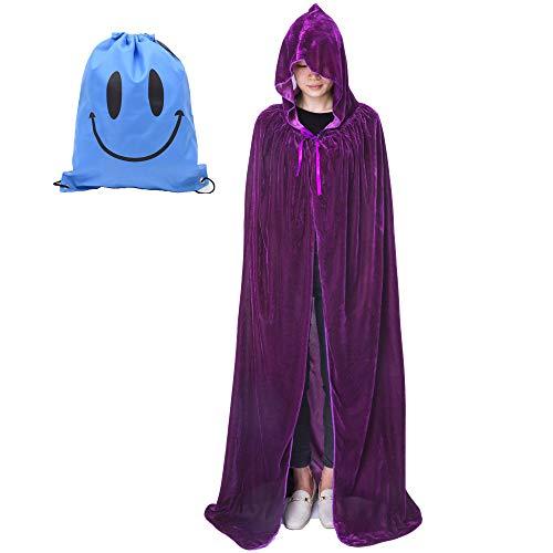 Vampir Erwachsene Weibliche Für Kostüm - Myir Unisex Umhang mit Kapuze Samt Halloween Umhang für Erwachsene Kinder Cosplay Vampir Kostüm Halloween Kostüm (Lila Samt, M)