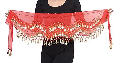 Belly Dance Bauchtanz Hüfttuch Kostüm 128 goldfarbenen Münzen Münzgürtel Fasching Karneval Tanzaufführung Gürtel in rot / Marke PRECORN