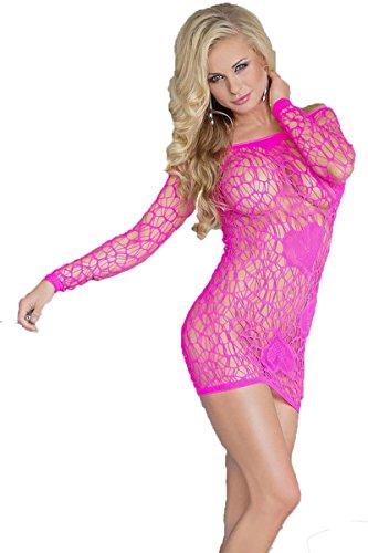 Pinkes erotisches Gogo Netzkleid Minikleid transparent One Size S-L