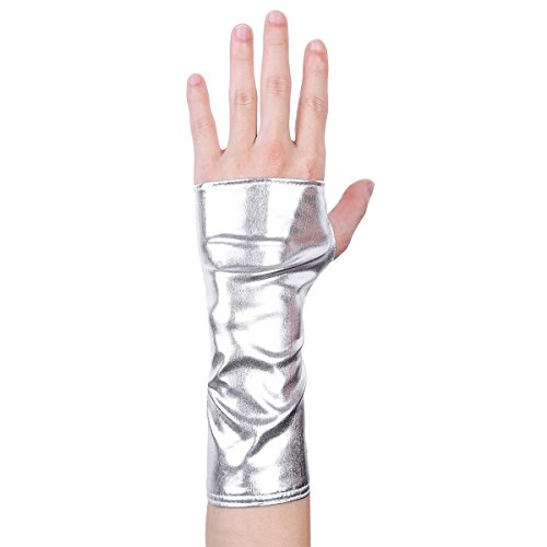 Freebily Damen Handschuhe aus Lackleder Wetlook Mini Metallic Optik Halb Fingerlose Handschuhe für Party Kostüm Silber One Size (Silber Stulpen Kostüm)