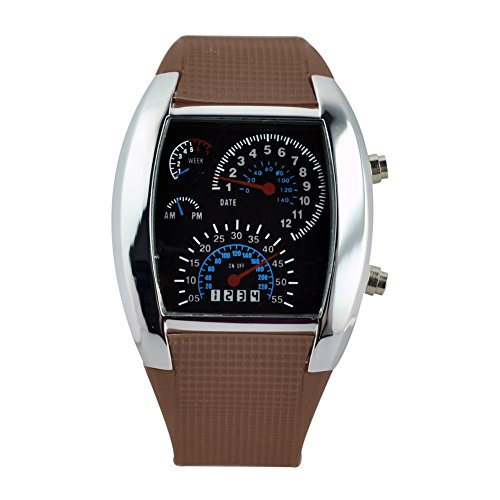 TOOGOO(R) LED Uhr Sektor Sport Auto Meter Zifferblatt Maenner und Frauen Armbanduhr (Kaffee)