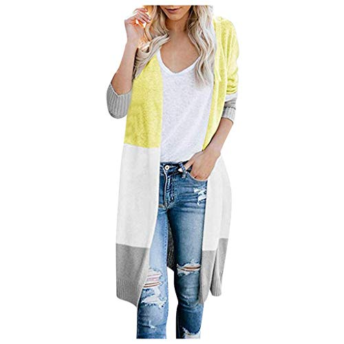 YUHUISTART Strickpullover Strickjacke Dünne Strickjacke Plus Size Damen Multicolor Streifen Patchwork Nähte Farbe Mehrfache Größe Langarm Fashion Cardigan Sweater Coat -