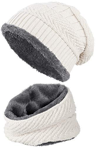 warm gefütterte Beanie + Schal mit Teddy-Fleece Fütterung mit Flechtmuster Wintermütze Einheitsgröße für Damen & Herren Mütze (4A) (Weiß/Grau)