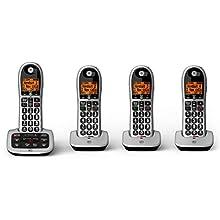 BT Big Button Advanced Call Blocker Cordless Home Phone with Answer Machine (Quad Handset Pack)