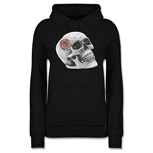 Shirtracer Rockabilly - Totenkopf Rose Vintage Skull - XL - Schwarz - JH001F - Damen Hoodie