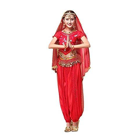 Bauchtanz Tribal Tanz Outfits Tanzkleidung Bauchtanz Kostüm Set Indischer Tanz Top & Paillette Bauchtanz Hose Münzen (Arabischen Frau Kostüm)