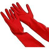 ESHOO 1pares lavavajilla de cocina limpieza Waterproof–Guantes de goma de manga larga, caucho, rojo, medium