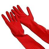 Moresave Küchenreinigung Geschirrspülmittel Handschuhe Warme Lange Gummihandschuhe Rot