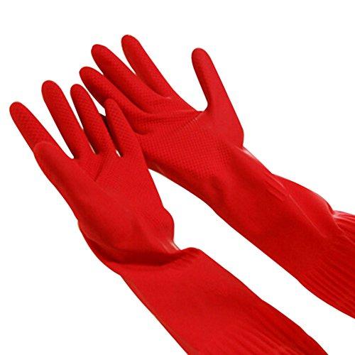 ESHOO Wiederverwendbare Latex-Kautschuk-Handschuhe Hauswäsche-Geschirrspülmittel Wasserdichte Langarm-Handschuhe (1 Paar)