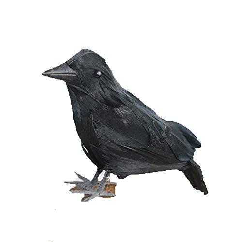 DERKOLY Lebensechte Scary Künstliche Raven Halloween Emulation Crow Modell Party Dekoration Black (Crow Dekorationen Black)