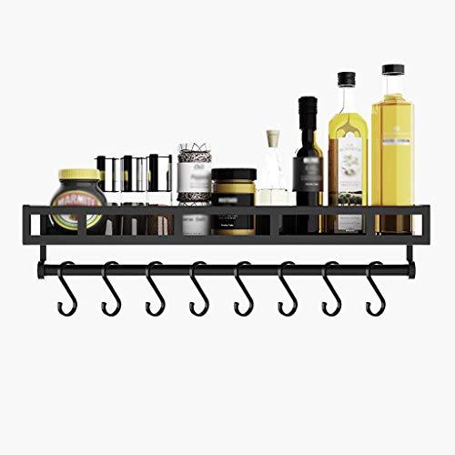 HIGHKAS Küchenregal Aluminium Wandgewürzregal Multifunktions-Aufbewahrungsregal für zu Hause Sparen Sie Platz und Laden Sie (: Mit Haken 60)