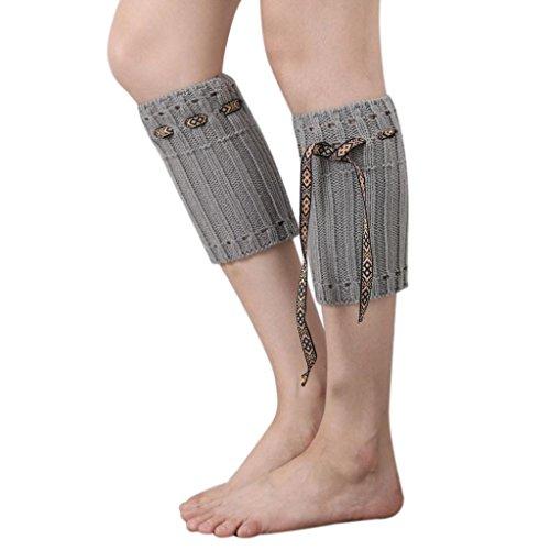 WOCACHI Damen Stulpen Winter Frauen Böhmen kurzer Punkt Beinlinge Socken Stiefel Abdeckung (Herren Trachten Stiefel Grün)