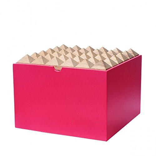 Pyramide en bois Boîte de rangement pour bijoux ou Fournitures de bureau, Extra Large, Rose fluo par Korridor