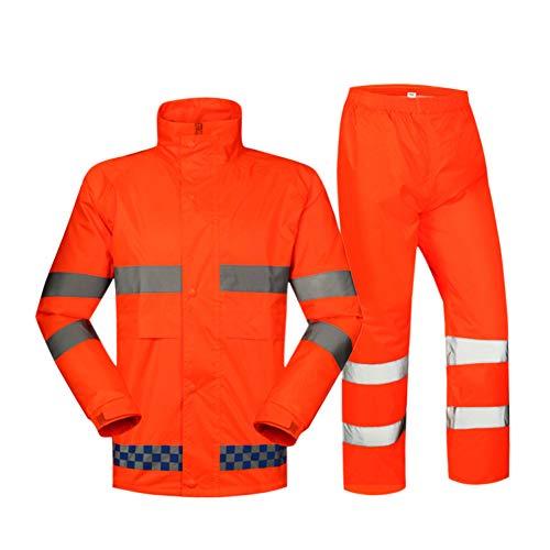 Zhuhaixmy Reflektierend Sichtweite Regenanzug - Draussen Orange Warnung Konstruktion Regen Jacke Hose Einstellen Sicherheit Schützend Wasserdicht Mantel Hosen Rainsuit Orange Rainsuit