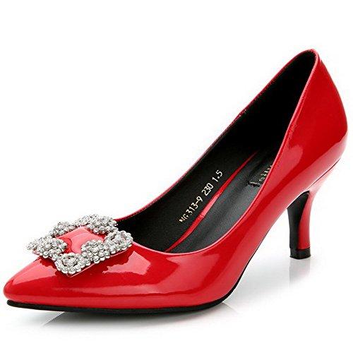 AalarDom Femme Couleur Unie à Talon Haut Pointu Tire Chaussures Légeresavec Bijou Rouge-Diamant