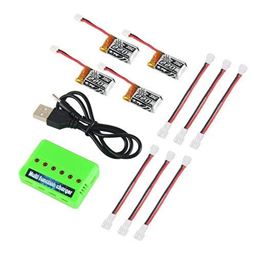 4pcs 1S 3.7V 220mAh LiPo batería 35C 6-en-1 Cargador