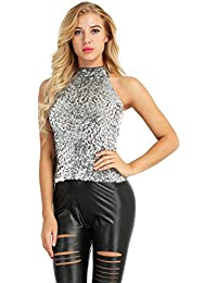 8653585b22c9c iiniim Womens Glitter Sequins Embellished Sparkle Vest Summer Sleeveless  Halter Neck Blouse Tank Tops