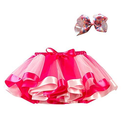 Lazzboy ragazze tutù tutu tulle rainbow balletto gonna principessa per 3-10 anni dress-up costume festa con fiocco clip di capelli set(5-7 anni,fuchisa-1)