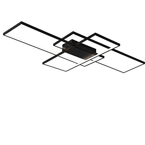 Plafonniers menés modernes en aluminium de rectangle de lustre de NEO pour le luminaire de lampe de plafond blanc / noir de chambre à coucher AC85-265V ( Couleur : Noir , taille : Lumière blanche-140*80*9cm )