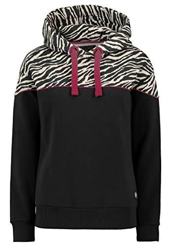 Rock Angel Damen Sweat Hoodie mit Colorblock Zebra-Print Dark-Grey XS -