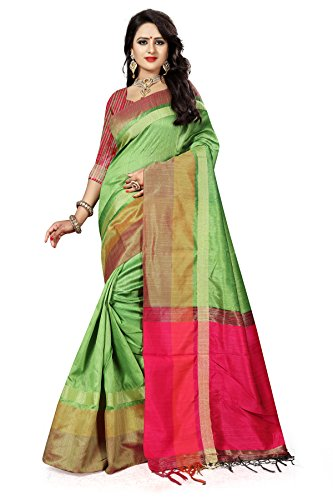J B Fashion Women's Silk Saree With Blouse Piece (S-Bahubali-4_Green)