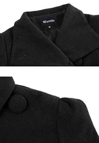 Wantdo Damen Mantel aus Wolle mit Gürtel Warm Wollmantel Schwarz