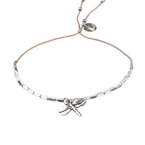 lua accessories - Armband Damen - Perlenarmband - größenverstellbar - Reflection (Libelle/silber)