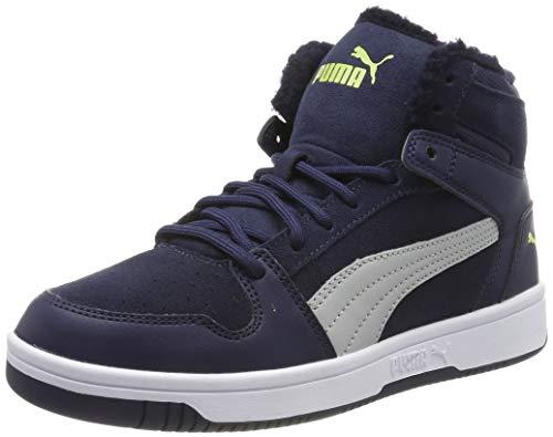 Puma Unisex-Kinder Rebound Layup Fur SD Jr Sneaker, Peacoat-High Rise-NRGY Yellow White, 39 EU