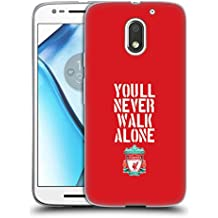 Official Liverpool Football Club Stencil Red Crest You'll Never Walk Alone Soft Gel Case for Motorola Moto E3