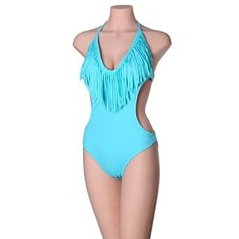 Bikini Femme sexy maillot de bain Swimwear Swimsuit,Bleu,FR taille 36(Etiquette L)