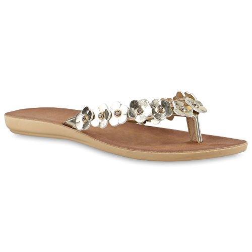 Damen Zehentrenner Beach Schuhe Lack Flats Sandalen Gold Cabanas