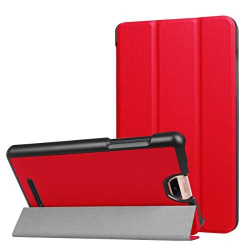 ERLI Acer Iconia Talk S (A1-734) Hülle Case, Ultra Dünn Tri-Fold Smart-Muschel PU Leder Schutzhülle für Acer Iconia Talk S (A1-734) 7.0 Zoll Android Tablet ,mit Auto Schlaf / Wach Funktion (Rot)