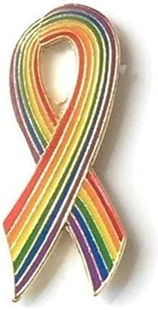 Rainbow LGBT Gay Pride Nastro Spilla Badge - placcati oro