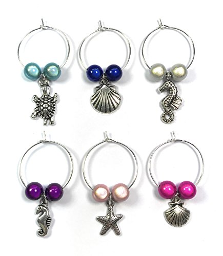 Set of 6 Handmade Sea Shore Wine Glass Charms Handmade by Libby's Market Place by Libby's Market Place (Pferd Wein Glas Charms)