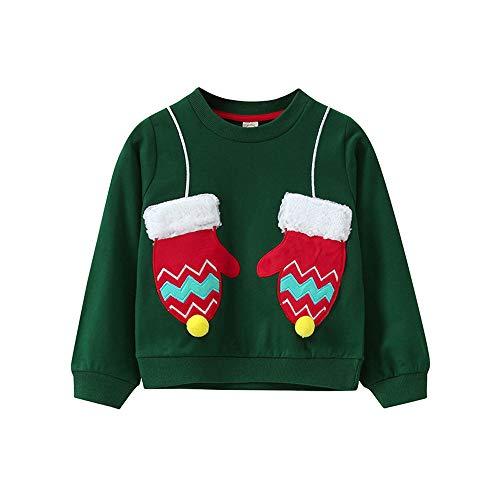 Riou Weihnachten Baby Kleidung Set Kinder Pullover Pyjama Outfits Set Familie Kleinkind Kinder Baby Mädchen Jungen Weihnachtshandschuh Print Pullover Sweatshirt Tops (140, Grün)