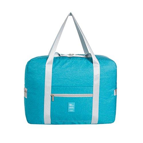 Dexinx Tragbar Gedruckt Große Kapazität Aufbewahrungstasche Zusammenklappbar Wasserdicht Verpackungswürfel Kleidertaschen Reisetasche Himmelblau