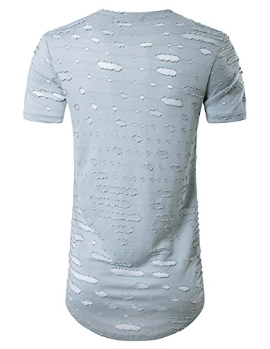 YCHENG Herren Lange T-Shirt Kurzarm Rundhals Basic Oversize Shirt Grau