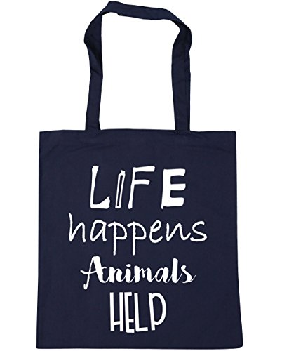 411OmeXVDmL BEST BUY #1HippoWarehouse Life Happens Animals Help Tote Shopping Gym Beach Bag 42cm x38cm, 10 litres price Reviews uk